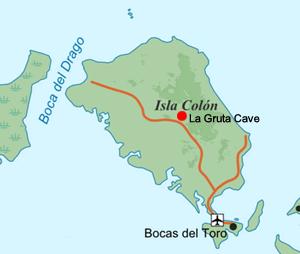 Carte de l'île de Colon avec l'emplacement de La Gruta Cave