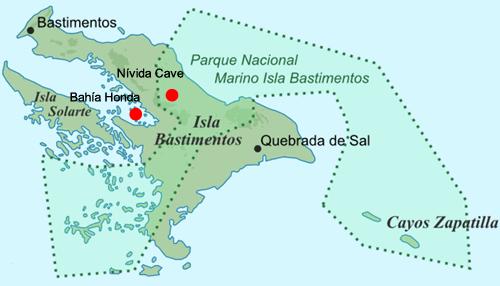 Carte de l'île de Bastimentos avec l'emplacement de Bahia Honda et Nivida Cave
